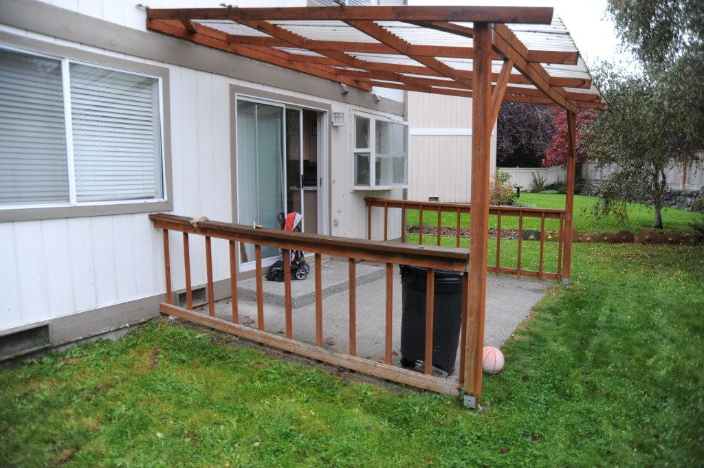 Plastic over patio is very dirty and discolored.  Replace the plastic.