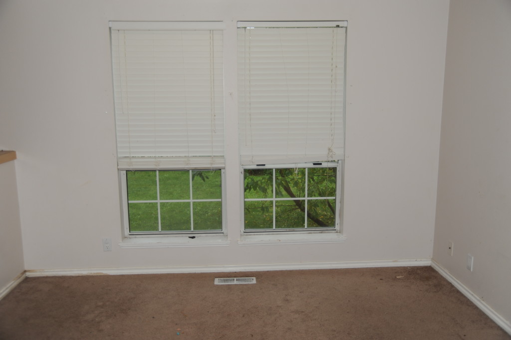 Downstairs living room, blinds are broken, replace with inexpensive mini-blinds.