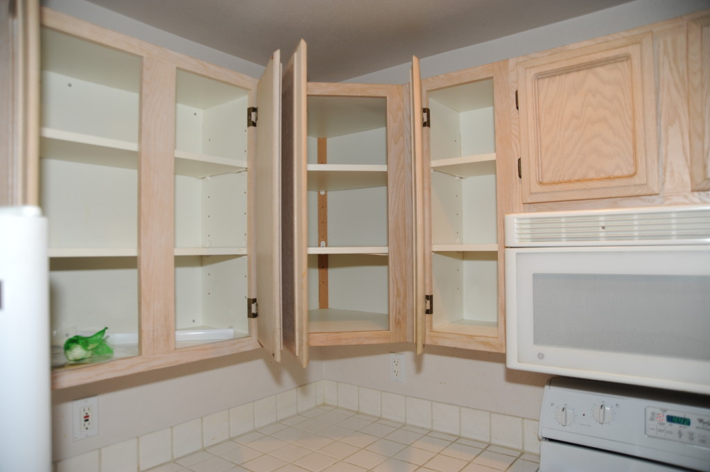 For the most part, the cabinets are in decent shape.  Professional refacing could make them outstanding.